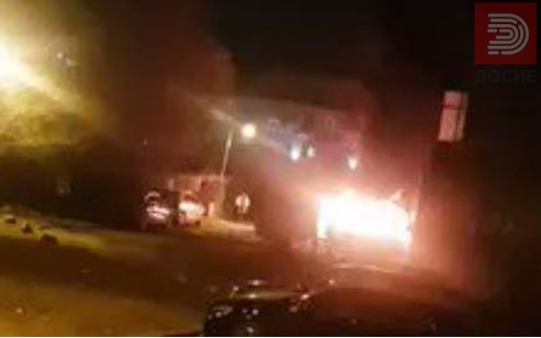 Видео: Експлозија па пожар- изгоре автомобил кај гимназијата НОВА